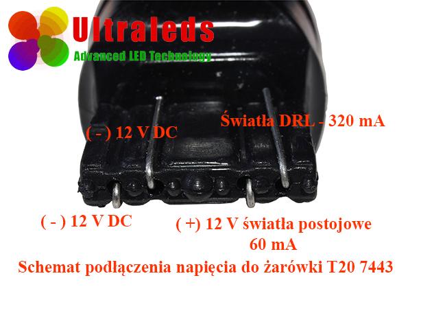 Żarówka LED T20 W21/5W 7443